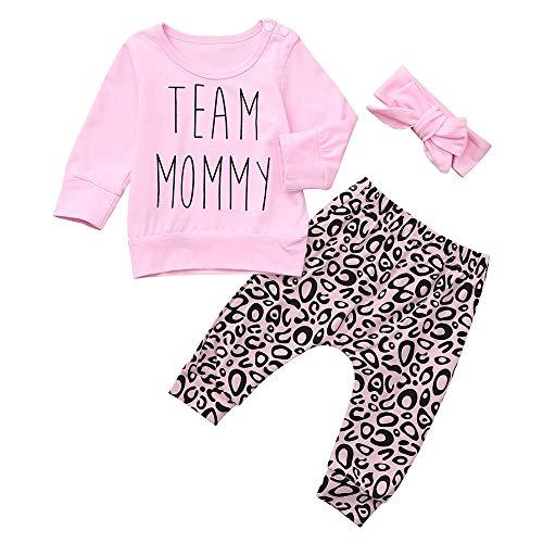 Lenfesh Lenfesh Baby Kleidung Set, 3PCS Kleinkind Baby Brief Print Top Kleidung + Leopard Print Hosen + Stirnbänder Set Outfits Jumpsuit Spielanzug Set