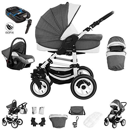 Bebebi Florenz | ISOFIX base & seggiolino auto | 4 in 1 passeggino con carrozzina modulari combinabili | ruote ad aria | Colore: Neptun Blue...