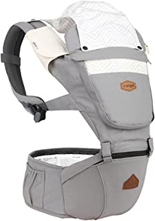 I-angel Nature Baby Carrier Hipseat Front Backpack Carrier,Sleeping Hood,Organic Cotton Teething Pads (Cloud Gray)