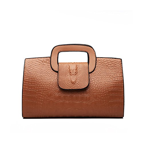 Tisdaini® Damenhandtaschen Mode Kroko Prägung Schultertaschen PU Leder Shopper Umhängetaschen Braun