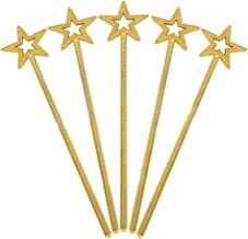 Tvoip 5PCS Girls Costume Props Star Magic Wand Angel Fairy Wands Sticks Birthday Party Wedding Halloween Cosplay Christmas 13 Inches (Gold)