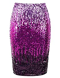 Periwinkle/Fuchsia/Dark Purple Sequin High Waist Sparkle Pencil Skirt