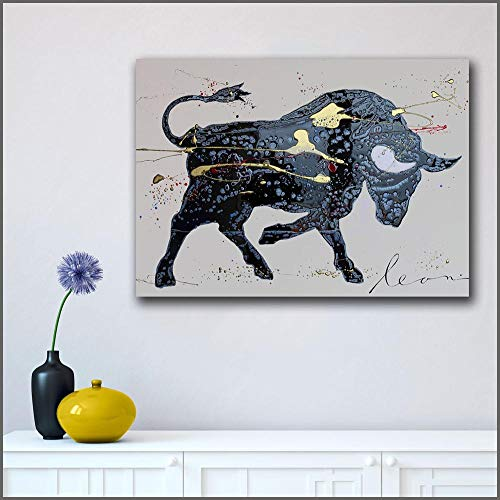 Graffiti Black Bull Abstract olieverfschilderij Wall Art Foto Decoratie Thuis Woonkamer Modern Canvas Fotolijst Frameloos schilderij 60X80CM