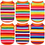 URATOT 6 Pieces Dog Rainbow Stripe Shirts Breathable Summer Cotton Sleeveless T-Shirt Comfortable Dog Striped Shirts Breathable Dog Vest for Dogs Cats Puppy (S Size)