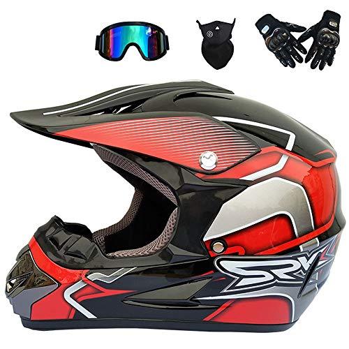 Casque Motocross, Adulte Casque Off-Road Kit (4 Pcs) avec Lunettes Gants Masque - D.O.T Certifié - Casque MX Moto Casque ATV Scooter Casque (S, M, L, XL),Red,M