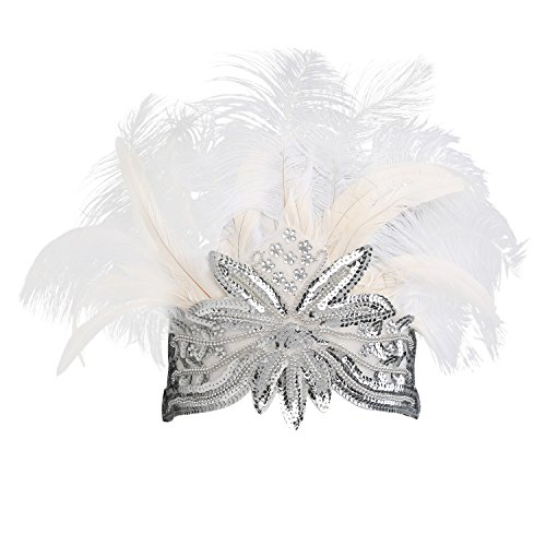 BABEYOND Women's White Feather Headband Indian Fascinator Carnival Headpiece Pageant Headband 1920s Flapper Accessories Headband (Offwhite)