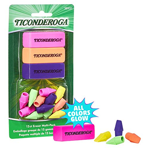 Ticonderoga Neon Erasers, Assorted Colors, 15 Count (38931)