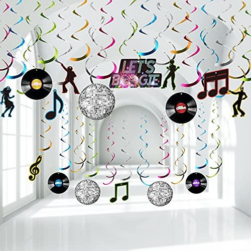 Décorations de Tourbillon de Feuille de Disco des Années 70, Bannière Let's Boogie Décorations pour Disques de Musique Tourbillons Suspendus de Soirée Boule Disco des Années 70, 30 Pièces