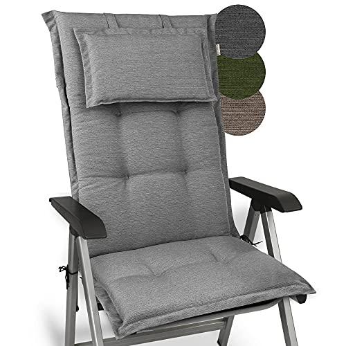 Beautissu Cojín para sillas de balcón o Asiento Exterior con Respaldo Alto Premium - 120x52x7 cm - Cojines para tumbonas y terrazas HighLux HL - Made in EU - Gris Claro