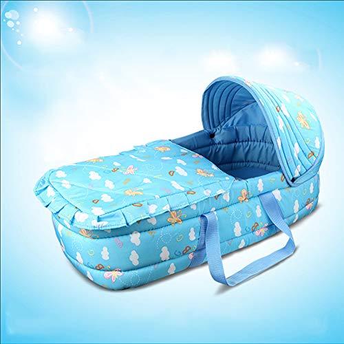 LNDD-Babykorb Moses Baskets Wicker Cotton Matratze Swing Stand Leicht Und Bequem Für Neugeborene Rosa 0-7 Jahre Alt,Blau