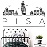 Adesivo murale moderno Pisa Adesivo murale rimovibile Acquerelli per la decorazione della stanza dei bambini Adesivi murali in vinile 42x70cm