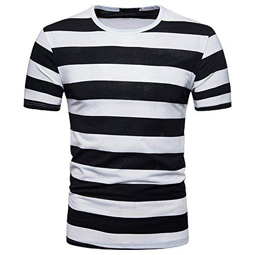 YEBIRAL Camiseta Rayas Negras Y Blancas,Camisetas Deporte Hombre Casual Slim Fit Verano con Manga Corta O-Cuello Originales Tops T-Shirt