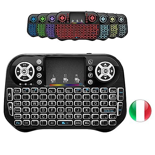 A5X Mini tastiera wireless retroilluminata con 7 colori, tastiera remota portatile wireless 2.4GHz con touchpad per Pad Tablet PC Android TV Box, OS Windows Smart TV IPTV USB, layout Italiano