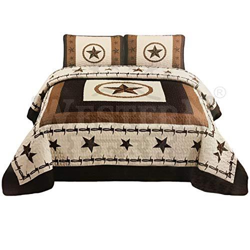 Western Peak 3 Pcs Western Texas Star Cabin Lodge Barbed Wire Luxury Quilt Bedspread Comforter Brown Beige (Oversized Queen)