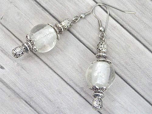 Pendientes Thurcolas de la gama Venezia en cuentas de cristal de Murano blanco