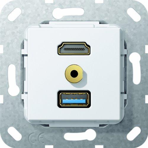 Gira 568003 Klinke M, HDMI USB 3.0 Gender Changer, Kabelpeitsche Einsatz, reinweiß