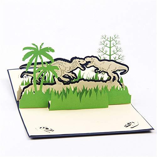 Dinosaur 3D Pop Up Greeting Card The Jurassic Period Greeting Card for Father Day Mother Day Chrismats Day Birthday Gifts Dual Dinosaur