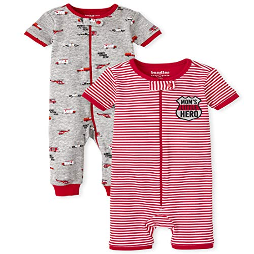 The Children's Place Baby and Toddler Boys First Responders Snug Fit Cotton One Piece Pajamas 2-Pack, H/T Mist, 5T