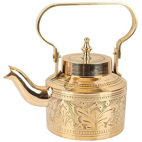 Tetera Juego de té hecho a mano tetera retro para el hogar tetera de cobre gruesa hecha a mano India hervidor de agua de latón puro 800 ml-800 ml