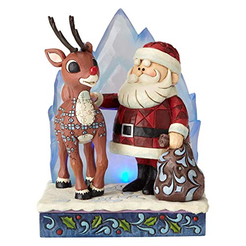 Enesco Rudolph The Red Nosed Reindeer by Jim Shore Santa with Iceberg Lit Figurine, 6.2', Multicolor