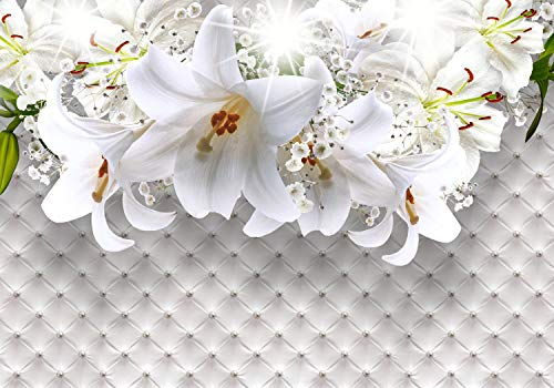 wandmotiv24 Fototapete Lilien Polster Perlen XXL 400 x 280 cm - 8 Teile Fototapeten, Wandbild, Motivtapeten, Vlies-Tapeten Luxus, Blüten, Blumen M1803