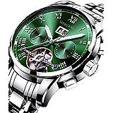 Watches for Men Automatic Mechanical Multifunctional Watch Stainless Steel Luminous Waterproof Self Winding Men's Watch Business Leisure Green Wrist Watch