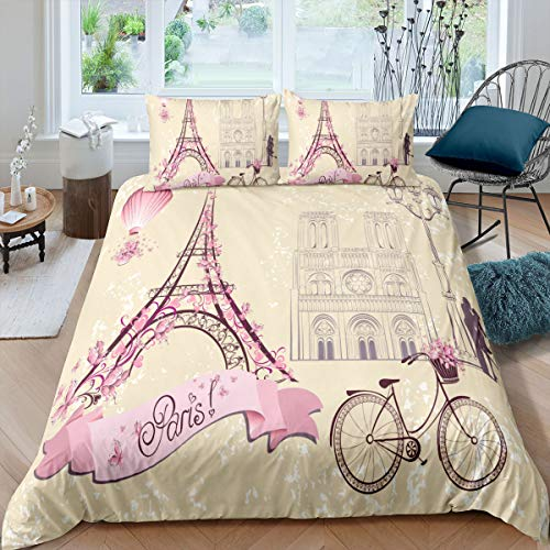 Feelyou Bettwäscheset für Mädchen, Teenager, Kingsize, Paris Eiffelturm, Bettbezug, Stadtbild, Schmusetuch für Zuhause, dekorativ, romantisches Paar, Kuss, Tagesdecke, Reißverschluss, 3-teilig