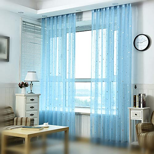 Pureaqu Kids Room Window Curtain Decoration W39xH84 Rod Pocket Process Multiple Sizes Star Voile Curtain/Drape(1 Panel)