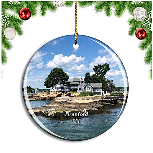 Weekino Bran Thimble Islands Connecticut USA Christmas Ornament Xmas Tree Decoration Hanging Pendant Travel Souvenir Collection Double Sided Porcelain 2.85 Inch