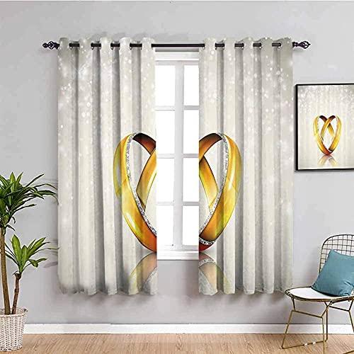 MXYHDZ Opacas Cortinas Dormitorio - Anillo Oro Romance Amor - Impresión 3D Aislantes de Frío y Calor 90% Opacas Cortinas - 160 x 160 cm - Salon Cocina Habitacion Niño Moderna Decorativa