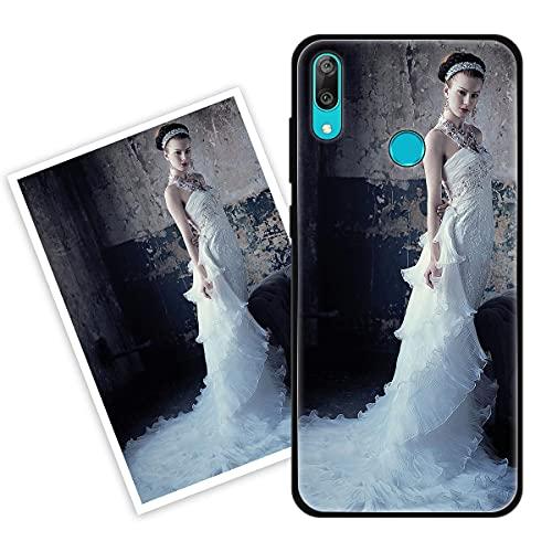 Sunrive Personalizzate Cover Compatibile con Huawei Y9 (2019) Personalizzabile con Foto Testi Frase Logo Disegni e Grafiche Personalizzata, Bordo TPU + Design in Vetro Temperato Posteriore