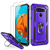 LUMARKE K51 Case,Q51 Case,Reflect Case with Tempered Glass Screen Protector(2 Pack),Military Grade 16ft. Drop Tested Cover with Magnetic Ring Kickstand Protective Phone Case for K51 Purple