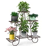 Elekin 6 Tier Metal Shelves Flower Pot Plant Stand Display Indoor Outdoor Garden Patio Plant Rack Flower Stand-Bronze