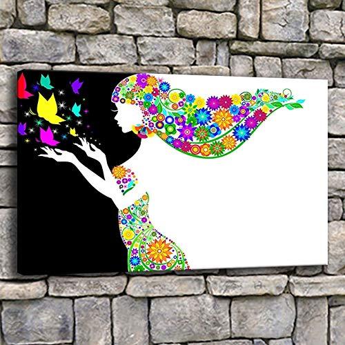 Canvas muurkunst poster panel vrouw silhouet bloem haar schilderij woonkamer druk vlinder meisje frameloos schilderwerk