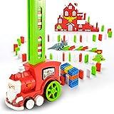Set trenino domino Babbo Natale per 90 pezzi, domino elettrico per bambini, trenino divertente colorato che prepara esperienza rally domino modo rapido automatico per ragazzi ragazze dai 3 agli 8 anni