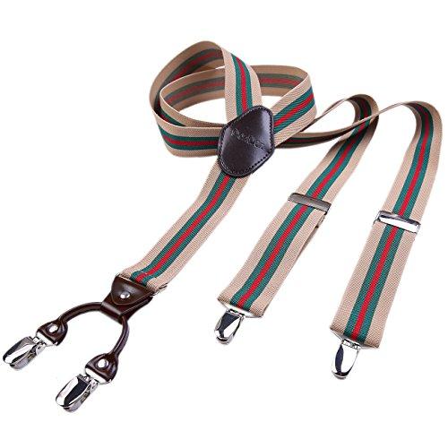 DonDon hombres tirantes 3,5 cm ancho 4 clips con piel cuero marrón de forma Y elástico y con longitud ajustable beis rayado