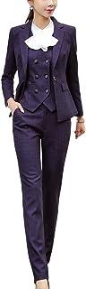 Women's Three Pieces Slim Fit Blazer Suit Office Lady Business Suit Set Blazer Jacket and Pant Suits