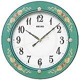 セイコー クロック 掛け時計 電波 アナログ 木枠 緑 花柄 模様 KX220M SEIKO
