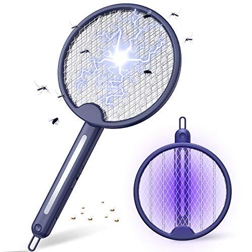 FLASHVIN Elektrische Fliegenklatsche 4000V Fliegenpatschern Klappbare Insektenfalle Fliegenfänger mit 1200mAh Akku USB extra Stark für Mücken Insekten mit UV/LED Licht 2 Schutzgitter, Dunkle Blau