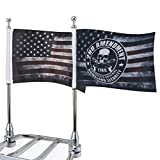 Motorcycle Flags 6' x 9' Antique American Flags with Flagpole Mounts Fit for 1/2' Motorcycle Luggage Rack for Harley Davidson Honda Suzuki Kawasaki Goldwing CB VTX CBR Yamaha(1 Pair)
