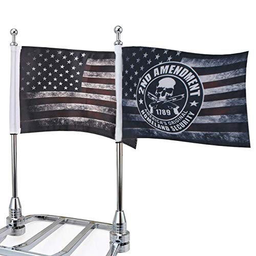 Motorcycle Flags 6  x 9  Antique American Flags with Flagpole Mounts Fit for 1 2  Motorcycle Luggage Rack for Harley Davidson Honda Suzuki Kawasaki Goldwing CB VTX CBR Yamaha(1 Pair)