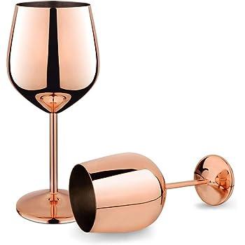 Copper Stainless Steel Wine Glasses Stemmed Goblets 17oz Shatterproof Set of 2 Rose Gold