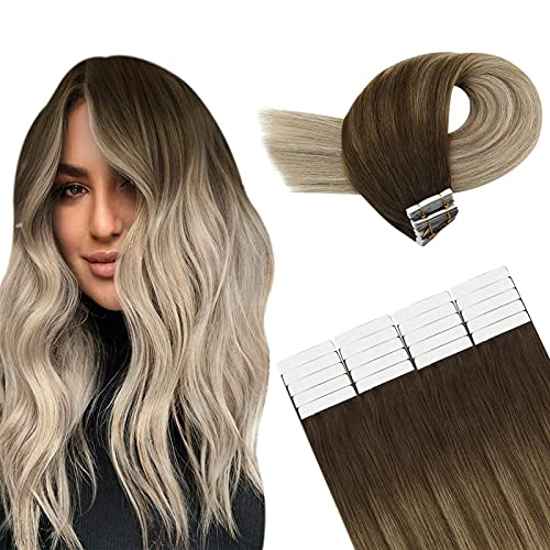 YoungSee Extension Adhesive Remy Extension Bande Adhesive Marron Foncé Ombre Blond Doré Mixte Blonde Blanche Tête Pleine Extension Bande Adhesive 20pcs/50g Dorit Soyeux Extensions Adhesives 20 Pouces