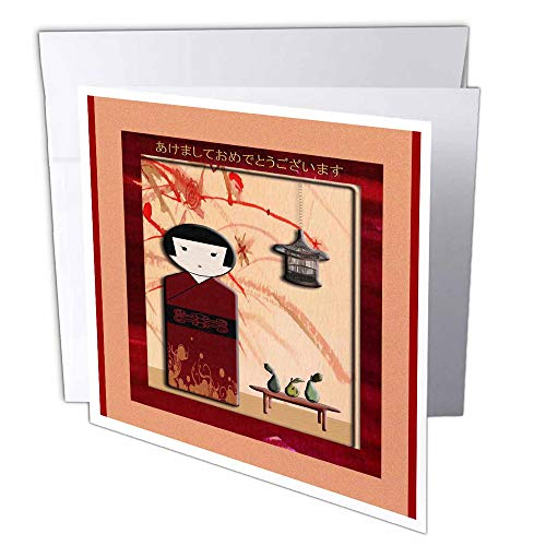 3D Rose GC 40362 deurmat 2 Happy New Year in Japans, Lady in Kimono - wenskaarten, 15,2 x 15,2 cm set van 12