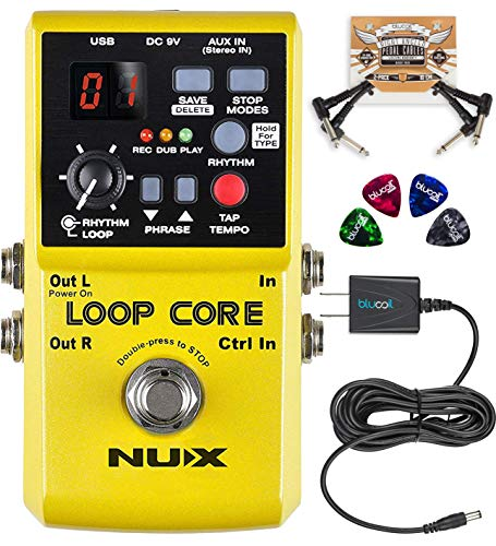 NUX Loop Core Looper Effects Pedal with Tap Tempo Bundle with Blucoil Slim 9V 670ma Power Supply AC Adapter, 2-Pack of Pedal Patch Cables, and 4-Pack of Celluloid Guitar Picks