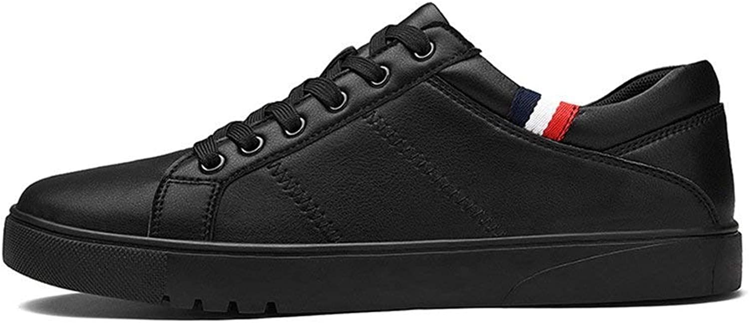ZHRUI Men Sneakers Casual shoes Flats Lace up Leather shoes Male (color   S1767 Black, Size   6.5=40 EU)