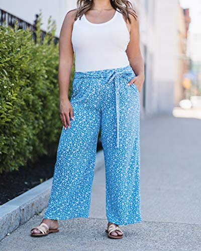 The Drop Women's Blue Floral Flowy Pull-On Pants by @caralynmirand