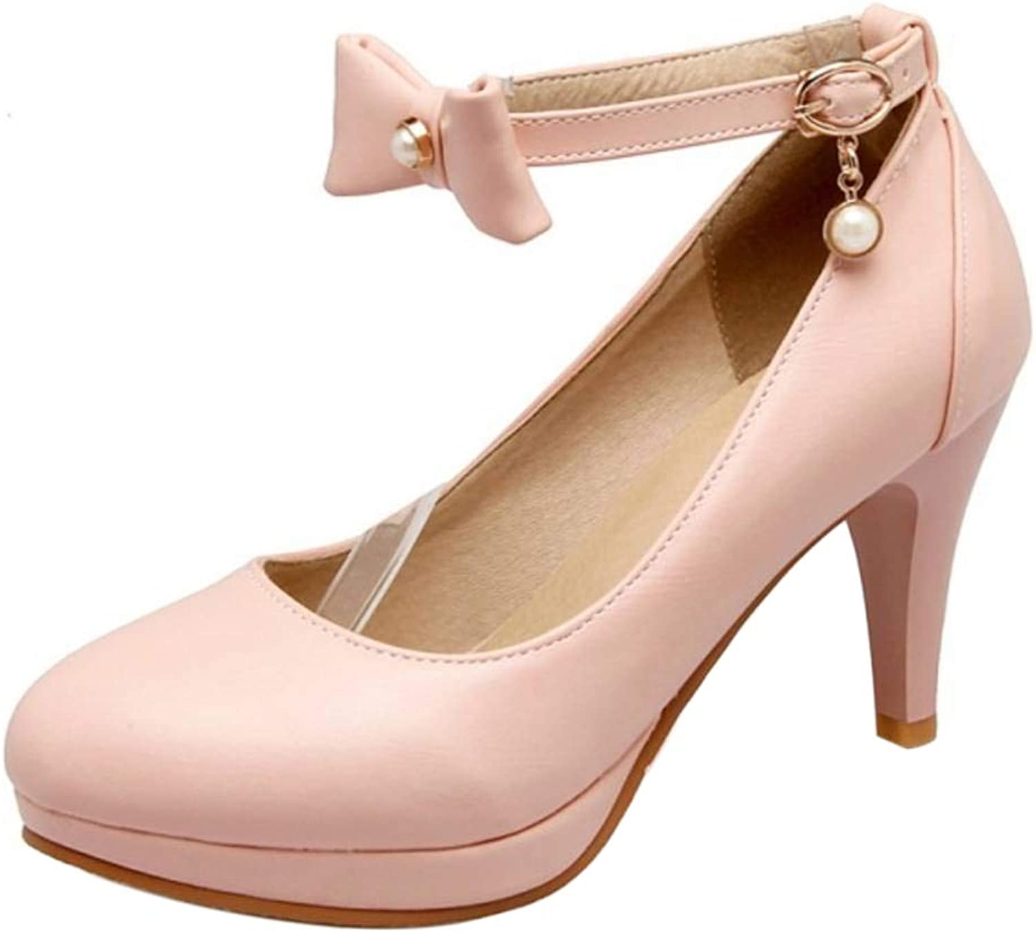 ELEEMEE Women Fashion Platform Pumps Cone Heel