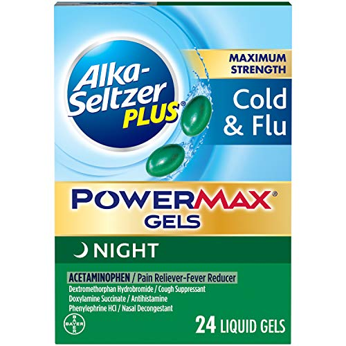 Alka-seltzer Maximum Strength PowerMax Gels with Acetaminophen, Night Cold and Flu Medicine for Adults, 24 Count