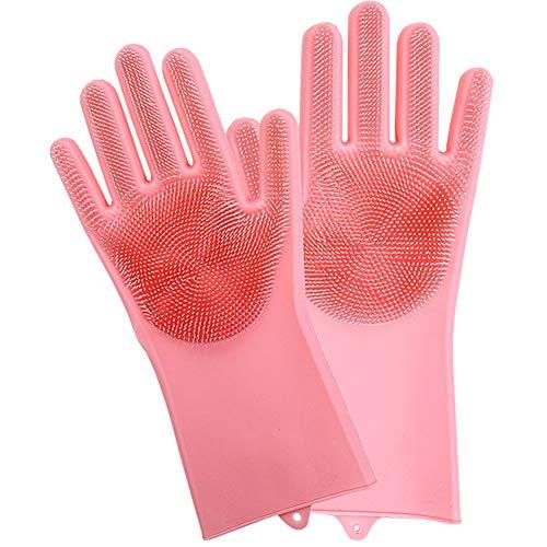 Preisvergleich Produktbild Geschirrspülhandschuhe,  Silikon,  wiederverwendbar,  für Waschschüssel,  Küche,  Badezimmer rose